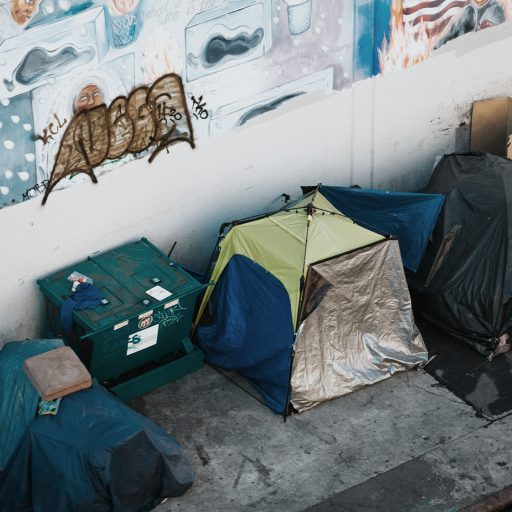 Homeless tents on a city street