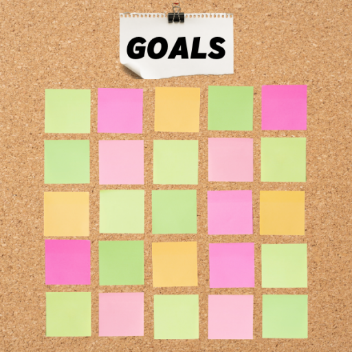 "Image: Bulletin board, ""Goals"", blank sticky notes"
