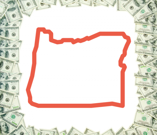 Image: Silhouette of Oregon, surrounded by dollar bills