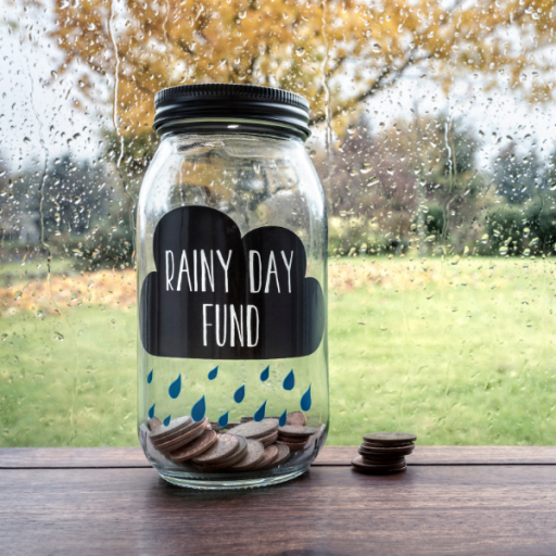 "Image: jar, labeled ""rainy day fund"""