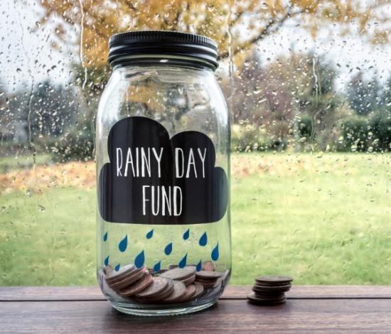 """Image: jar, labeled """"rainy day fund"""""""