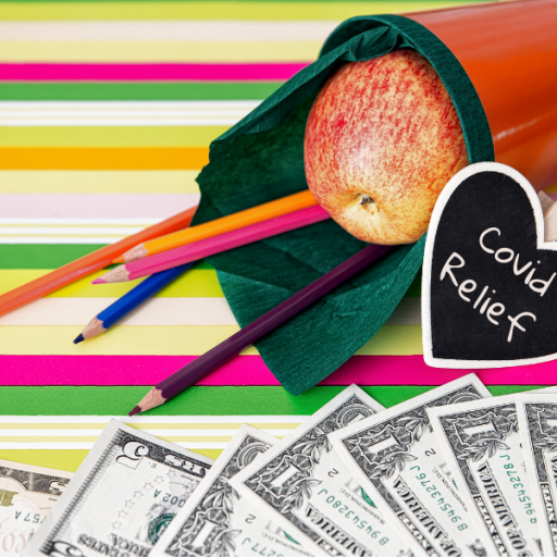 "School supplies, dollar bills, ""Covid relief"""