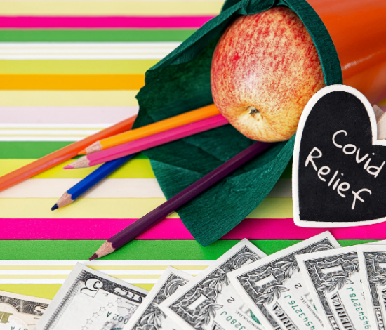 "School supplies, dollar bills, ""Covid relief"""
